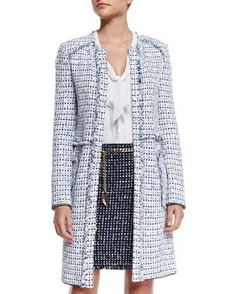 Monte Solaro Jewel-Neck Topper Coat, Bianco/Multi