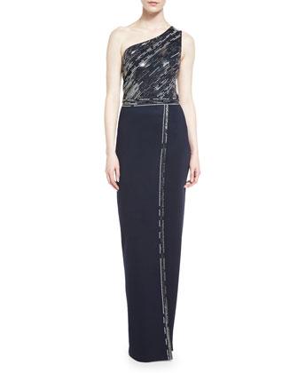 Matte Shine Milano Knit One-Shoulder Gown