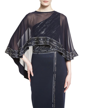 Silk Georgette Embellished Cape