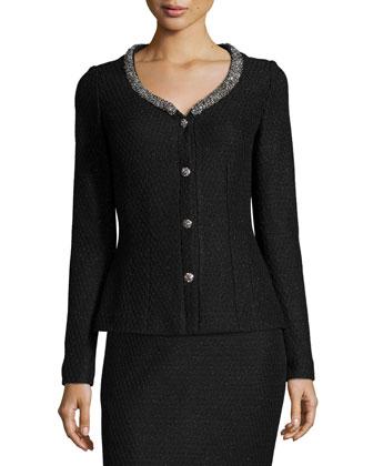 Shimmer Lattice-Knit Jacket, Caviar/Silver