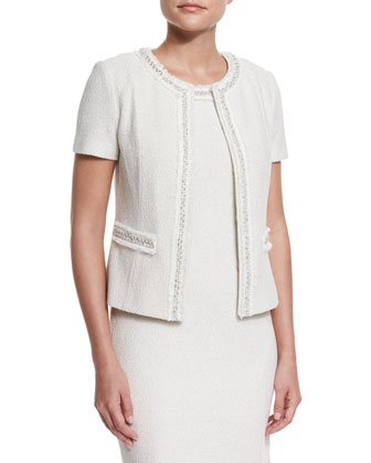 Shimmer New Boucle Knit Short-Sleeve Jacket