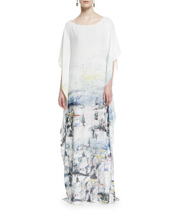Amalfi Vista-Print Silk Georgette Gown