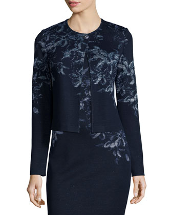 Island Floral Shimmer Jacquard Sweater