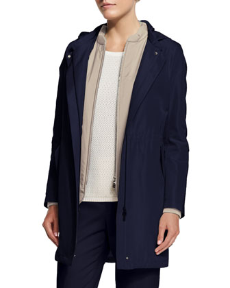 Rain Hooded Zip-Front Jacket W/Liner, Blue Shadows