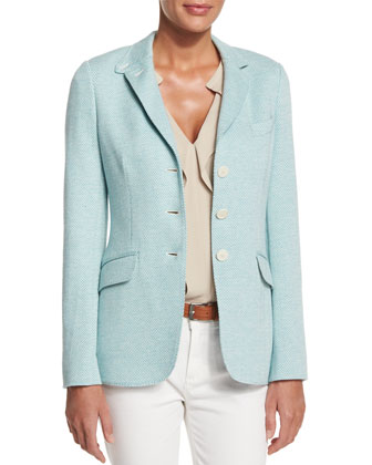 London Bridge Three-Button Jacket, White/Clear Lake