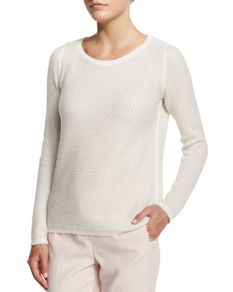 Panarea Long-Sleeve Cashmere Sweater, Oats/White