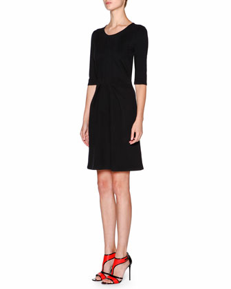 Half-Sleeve Pleated-Front Dress, Black