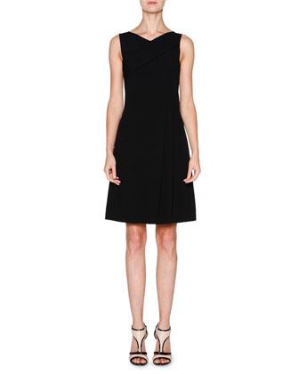 Sleeveless Grecian-Drape Dress, Black