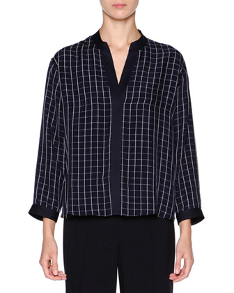 Split-Neck Square-Print Blouse, Navy