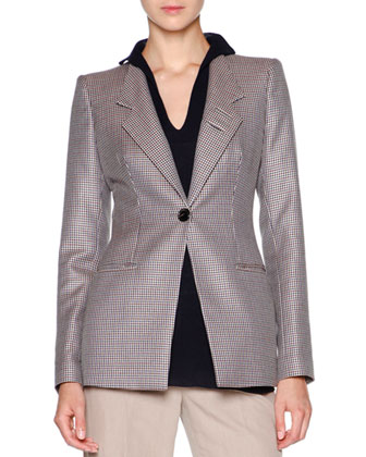 Mini-Houndstooth One-Button Jacket, Multi Check