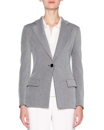 Pinstripe One-Button Jacket, Navy