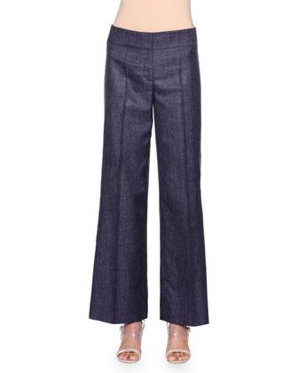Wide-Leg Denim Trousers, Blue