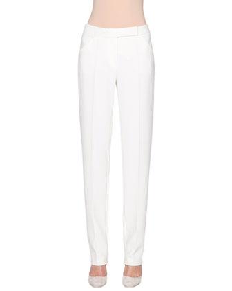 Mid-Rise Narrow-Leg Trousers, Powder
