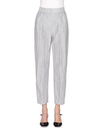 Fine-Stripe Cropped Pants, Navy/White