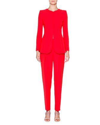 Collarless Silk-Cady Jacket, Scarlet