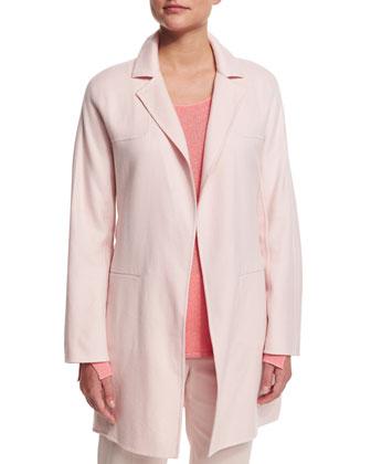 Long-Sleeve Belted Cashmere Coat, Rosebud Pink