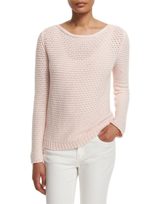 Long-Sleeve Cashmere Sweater, Rosebud Pink
