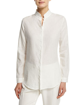 Long-Sleeve Blouse W/Frayed Trim, White