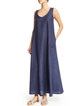 Sleeveless Frayed-Trim Linen Maxi Dress, Caspian Blue