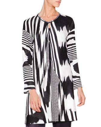 Tie-Dye Flame Heartbreak Sweater, Black/White