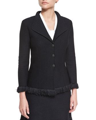 Linea Knit Jacket with Fringe, Caviar