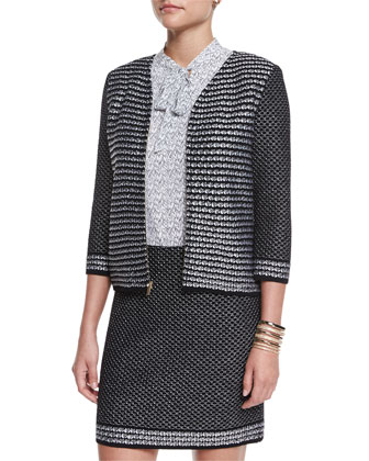 Fiore Diamante Knit Zip Jacket, Caviar/White