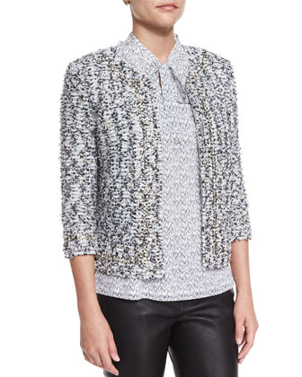 Amour Tweed 3/4-Sleeve Jacket