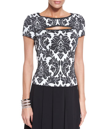 Damask Knit Short-Sleeve Top