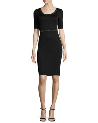 Matte Shine Milano Knit Embellished Dress