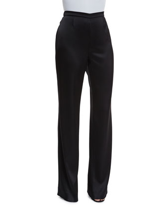 Elastic-Waist Boot-Cut Pants, Caviar