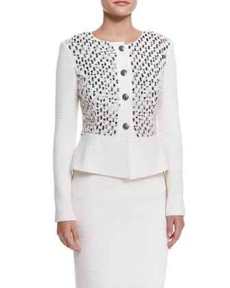 Bella Knit Sequin Peplum Jacket, Cream Multi