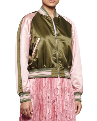 Baseball Two-Tone Bomber Jacket, Khaki/Fox Glove