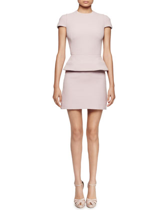 Cap-Sleeve Peplum-Waist Dress, Patchouli