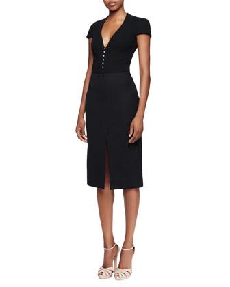 Cap-Sleeve Deep-V-Neck Dress, Black