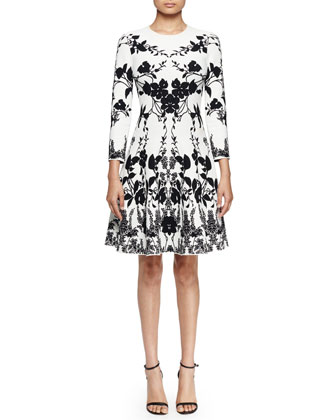 3/4-Sleeve Floral-Print Fit-&-Flare Dress, Off White/Black