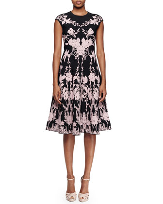 Cap-Sleeve Floral-Print Dress, Black/Lilac