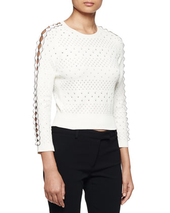 Jewel-Neck Punch-Detail Sweater, Ivory/Black