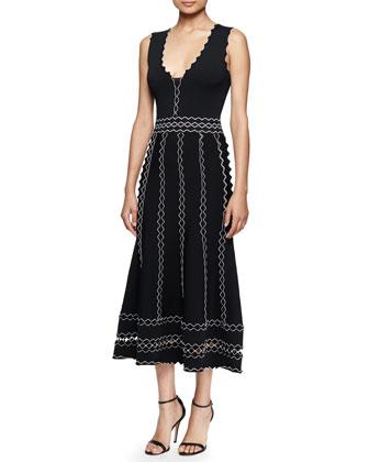 Sleeveless Midi Dress W/Contrast Ruffles, Black/Ivory