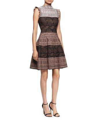 Sleeveless Fit-&-Flare Python Dress, Brown/Multi