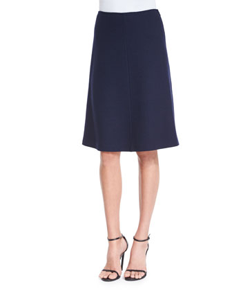 Micro Boucle Knit Flared Skirt, Navy