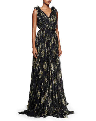 V-Neck Floral Silk Chiffon Gown, Black/Yellow