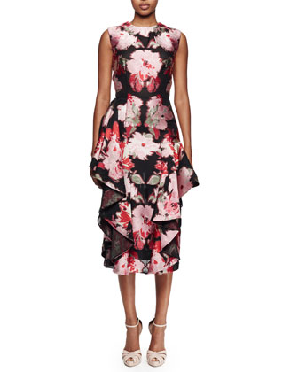 Sleeveless Floral-Print Cocktail Dress, Black Multi