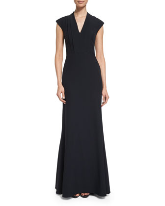Cap-Sleeve Pleated-Bodice Gown, Black
