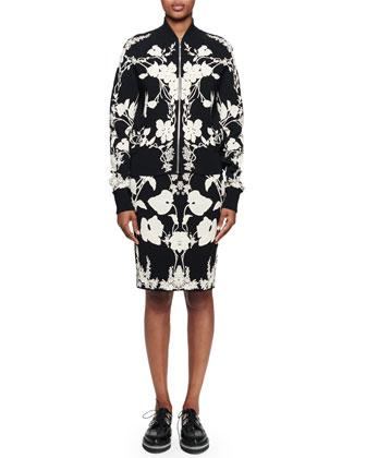 Floral-Print Jacquard Jacket, Black/Ivory