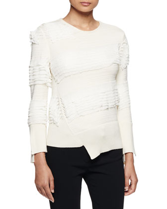 Asymmetric Ruffle-Knit Sweater, Ivory
