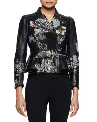 Embroidered Leather Moto Jacket, Black Multi