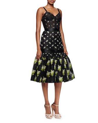 Embroidered-Floral Corset Dress, Black Mix