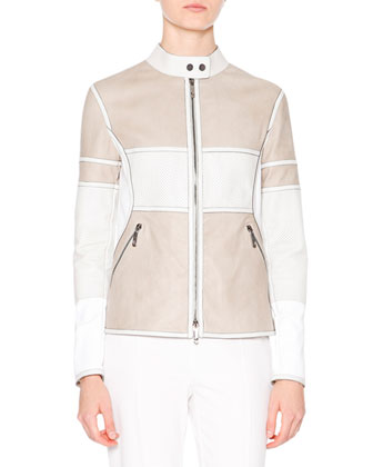 Two-Tone Leather Biker Jacket, Stone/White