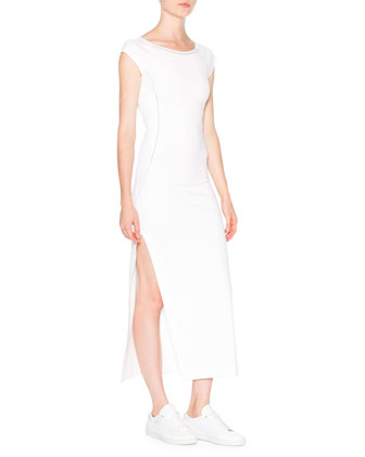 Cap-Sleeve Ballet Dress W/Mesh Insets, White