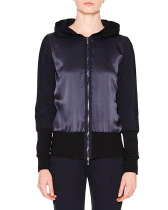 Long Bomber Techno Coat, Zip-Front Hooded Sweatshirt, Long-Sleeve ...